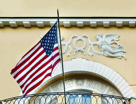 legislature: American flag at the residence of the U.S. in old building in Moscow