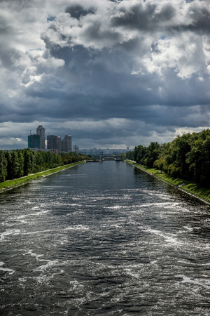 Beautiful landscape with storm clouds on the old historic Moscow Canal Stock Photo