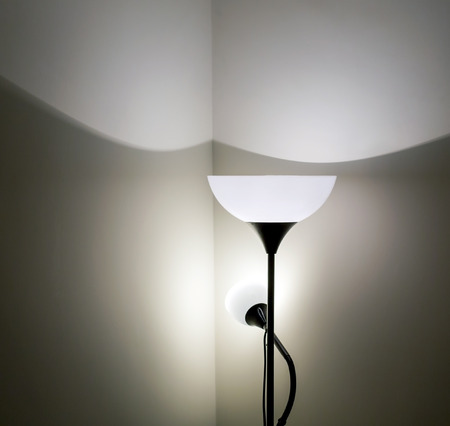 lamp shade: Silhouette of decorative floor lamp shade in house interior