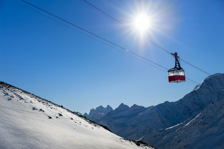 cableway: Old pendulum cableway for transport large numbers of people in mountains Caucasus