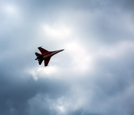 pilotage: ZHUKOVSKY, MOSCOW - AUG 16: Russian fighter aircraft MIG-29 at AirShow Furious 2014 on August 16, 2014 in Zhukovsky, Moscow region, Russia Editorial