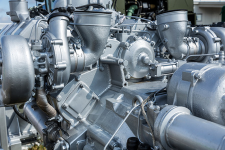 alternator: Modern car engine closeup. Fragment of car engine Stock Photo