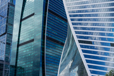 modern building: MOSCOW. RUSSIA - JUNE 5, 2015: Skyscrapers of the Moscow city business center close-up. Moscow International Business Center also referred to as Moscow-City is a commercial district in central Moscow, Russia