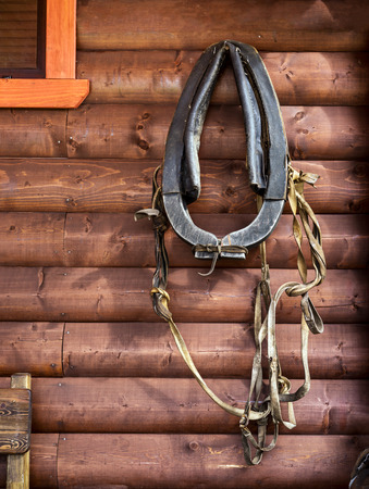 horse collar: Horse collar hanging on wall of wooden home Stock Photo