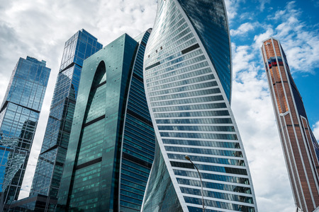 international business center: MOSCOW. RUSSIA - JUNE 5, 2015: Skyscrapers of Moscow city business center closeup. Moscow International Business Center also referred to as Moscow-City is commercial district in central Moscow, Russia