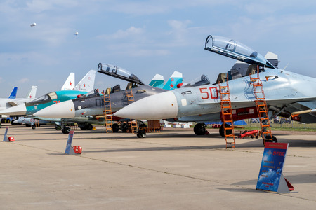 aerobatic: ZHUKOVSKY, RUSSIA - AUG 26, 2015: Airplane shown at International Aerospace Salon MAKS-2015 on august 27, 2015 in Zhukovsky, Moscow region, Russia