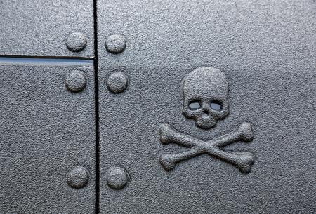crossbones: Warning sign skull and crossbones on a black background
