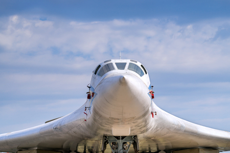 made russia: Cabin of supersonic aircraft made in Russia closeup. Front view