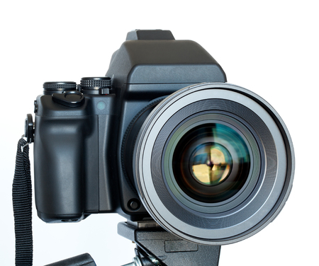 technology career: Camera with the lens closeup isolated on white background