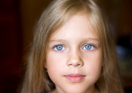child model: Portrait of young attractive beautiful blonde girl with blue eyes and positive expression of the face