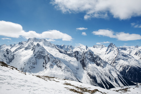 dombay: Beautiful landscape of the Caucasus Mountains Dombai on winter resort Stock Photo