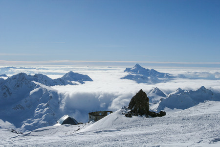 Beautiful scenery mountain massif on the North Caucasus on winter resort