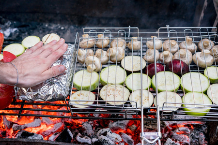 Grilled vegetables on a barbecue grill close-up Stock Photo