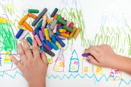 child's drawing: Childs drawing with colored pencils on background