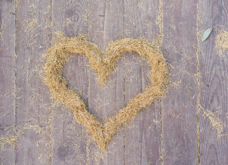 inflexible: Heart made of yellow fallen spruce needles on old wooden surface, as a symbol of St. Valentine