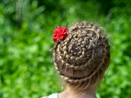 barber: Fashionable hairstyle closeup with braids and red flower on a young girl on a background of green grass. Rear view Stock Photo