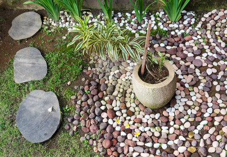 Landscape design, stone walkway , pebbles and pot with plant in the garden