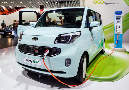 MOSCOW, RUSSIA - SEPT 4, 2012: Kia Ray EV electric car is the first production electric car for Kia Motors. Ray EV -