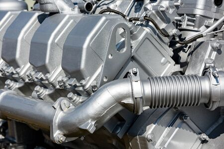 Modern car engine closeup. Fragment of car engine