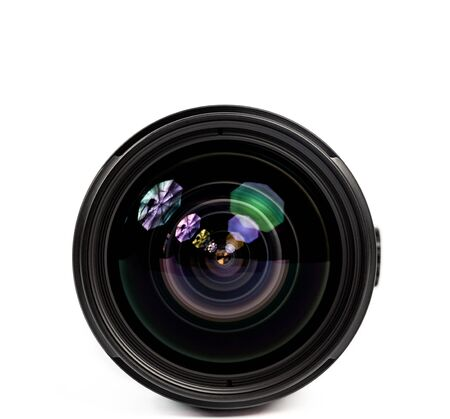 Objective lens of photo camera for photo or video closeup on white background Stock Photo