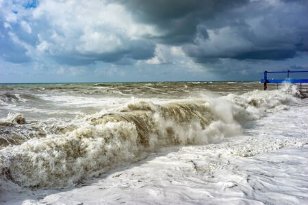 Big and powerful sea waves during the storm Stock Photo