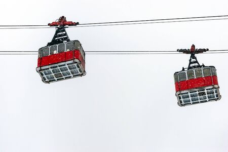 Old pendulum cableway for transport large numbers of people in mountains Caucasus in the Elbrus region