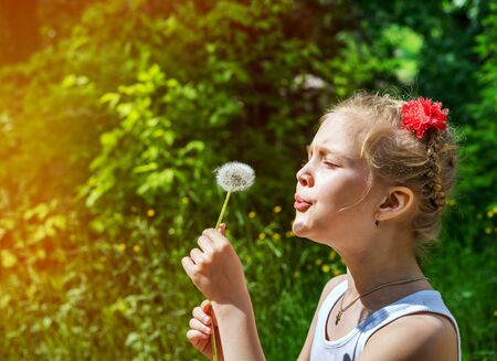 Beautiful young girl in the park blowing on dandelion in summer time on a background of green grass