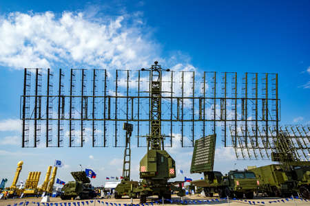 Zhukovsky, Russia - Aug 26, 2015: Air defense radars of military mobile anti aircraft systems, modern army industry at International Aviation salon MAKS-2015