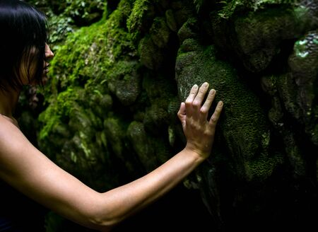 Beautiful young brunette woman touches moss in the forest on big rocks in the twilight