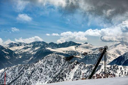 Beautiful scenery mountain massif in the Pyrenees on ski resort Standard-Bild