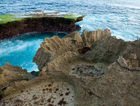 nusa: Great waves at the Devils Tear Sunset on Nusa Lembongan near Bali in Indonesia. Stock Photo