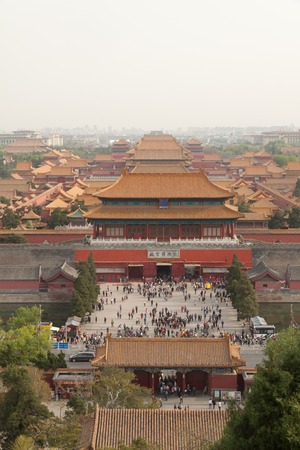 bejing: Aerial view on Forbidden City seen from Jingshan Park in Bejing, China