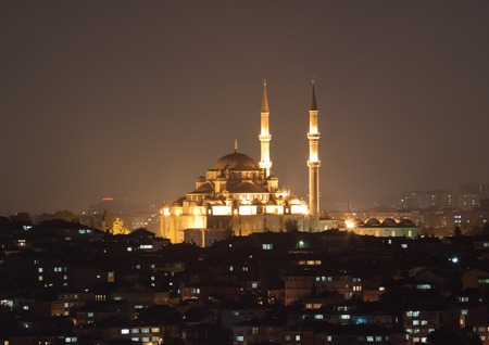 camii: Fatih Sultan Camii Mosque at night. Turkey
