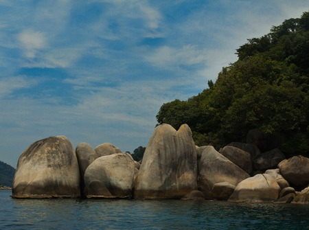 Intresting Rocks in the sea of Perhentian Islands, Malaysia Stock Photo