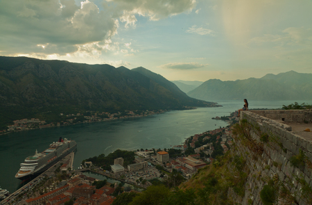 boka: Montenegro. Bay of Kotor Gulf of Kotor, Boka Kotorska, and walled old city - general view from St. Johns Fortress. Fortifications of Kotor is on UNESCO World Heritage List since 1979