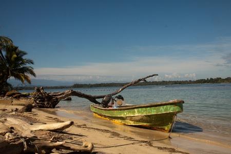 Panoramic view of the pier on Boca del Drago beach, archipelago Bocas del Toro, Panama