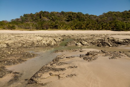 water s edge: Reef outside the water during Low tide. Cota Rica Stock Photo
