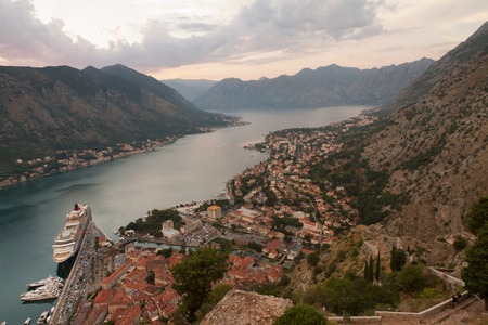 kotor: Old church inside Stari Grad, Kotor, Montenegro. Kotor bay and Old Town from Lovcen Mountain. Montenegro. Stock Photo