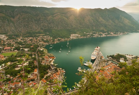 Old church inside Stari Grad, Kotor, Montenegro. Kotor bay and Old Town from Lovcen Mountain. Montenegro. Stock Photo