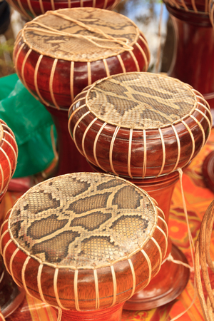 thai musical instrument: Drum surface from snake skin