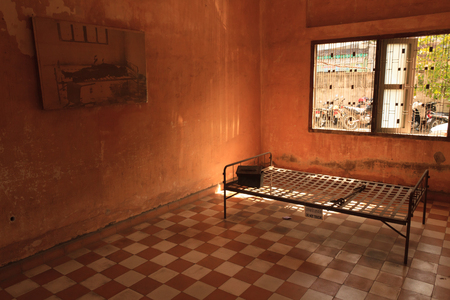 atrocity: Torture room at the Tuol Sleng Genocide Museum in Phnom Penh