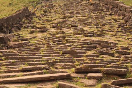 laotian: Stairs of Wat Phu Champasak temple in Laos