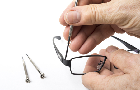 Full frame dioptric eye glasses on the table Stock Photo