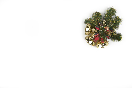 Christmas background with decorations  holly and present boxes, ribbon on white