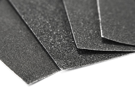 Black sandpaper sheets water proof on the white background Stock Photo