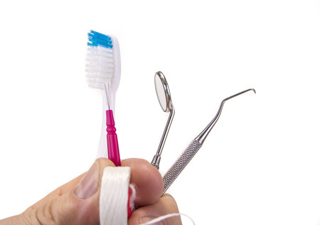Dental tools with toothbrush interdental pick and floss