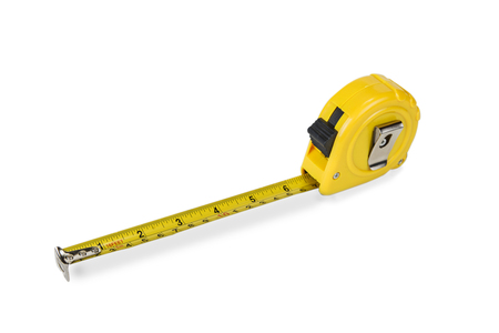 Yellow rolling meter on the white background