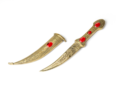 Vintage knife from ottoman empire in the white background