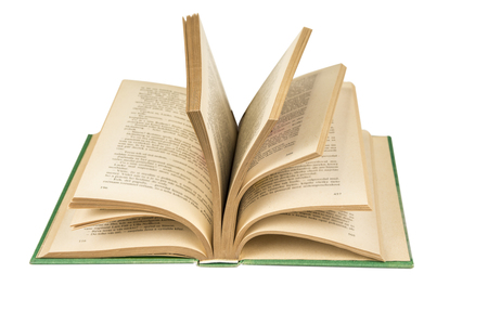 Open book with pages on the white background