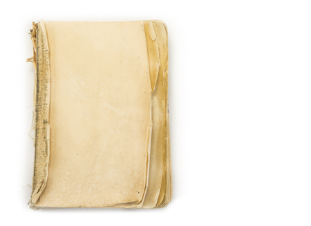Old vintage book without cover on the white Stock Photo - 94931636